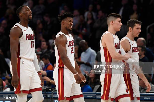 Jimmy Butler of the Miami Heat reacts during the second half of the game against the New York Knicks at Madison Square Garden on January 12 2020 in...