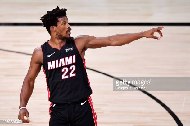 Jimmy Butler of the Miami Heat reacts during the third quarter against the Los Angeles Lakers in Game Six of the 2020 NBA Finals at AdventHealth...