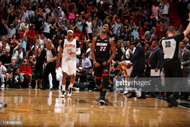Jimmy Butler of the Miami Heat reacts to a play during a game against the Atlanta Hawks on December 10 2019 at American Airlines Arena in Miami...
