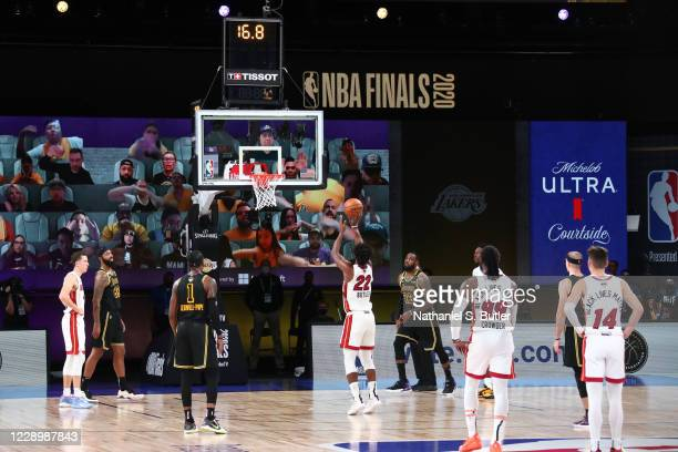 Jimmy Butler of the Miami Heat shoots free throws to give the team the team against the Los Angeles Lakers during Game Five of the NBA Finals on...