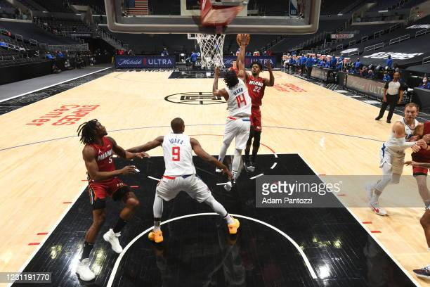 Jimmy Butler of the Miami Heat shoots the ball during the game against the LA Clippers on February 15, 2021 at STAPLES Center in Los Angeles,...