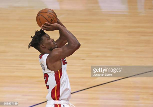 Jimmy Butler of the Miami Heat shots against the Chicago Bulls at the United Center on March 12, 2021 in Chicago, Illinois. NOTE TO USER: User...