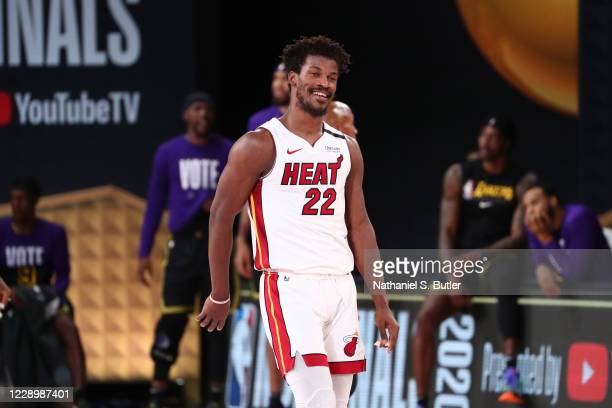 Jimmy Butler of the Miami Heat smiles during Game Five of the NBA Finals on October 9, 2020 at AdventHealth Arena in Orlando, Florida. NOTE TO USER:...