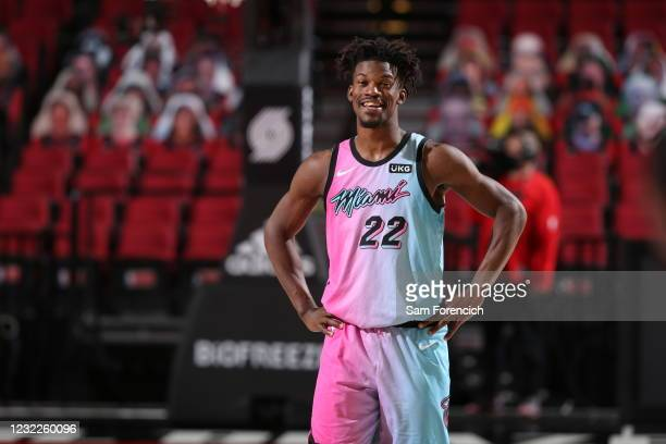 Jimmy Butler of the Miami Heat smiles during the game against the Portland Trail Blazers on April 11, 2021 at the Moda Center Arena in Portland,...