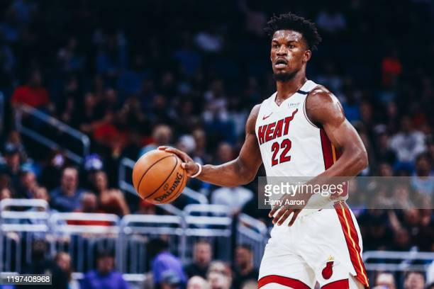 Jimmy Butler of the Miami Heat taking the ball down the court against the Orlando Magic in the first quarter at Amway Center on January 03, 2020 in...