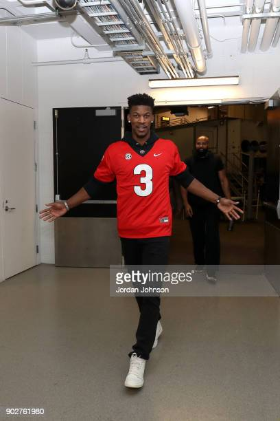 Jimmy Butler of the Minnesota Timberwolves arrives at the stadium before the game against Cleveland Cavaliers on January 8 2018 at Target Center in...