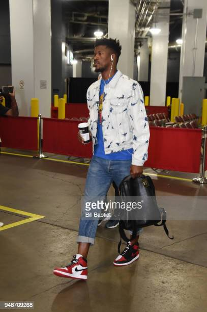 Jimmy Butler of the Minnesota Timberwolves arrives before the game against the Houston Rockets in Game One of Round One of the 2018 NBA Playoffs on...