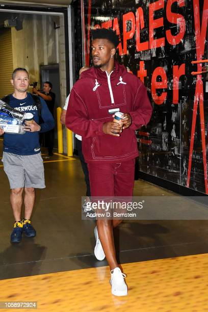 Jimmy Butler of the Minnesota Timberwolves arrives to the arena prior to the game against the Los Angeles Lakers on November 7 2018 at STAPLES Center...