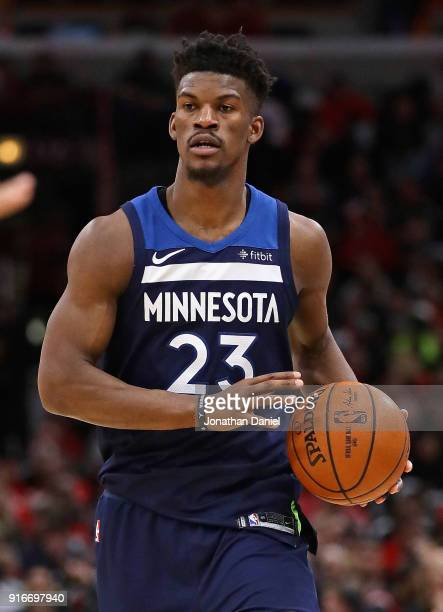 Jimmy Butler of the Minnesota Timberwolves brings the ball up the court against the Chicago Bulls at the United Center on February 9 2018 in Chicago...