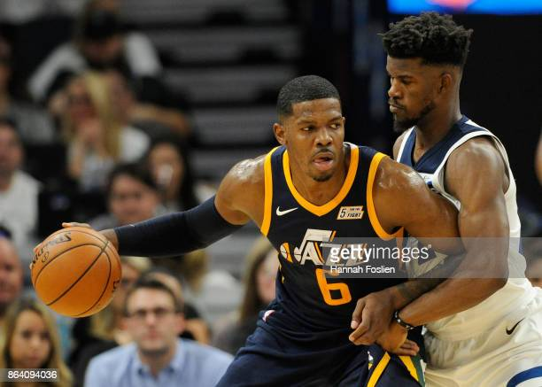 Jimmy Butler of the Minnesota Timberwolves defends against Joe Johnson of the Utah Jazz during the second quarter of the game on October 20 2017 at...