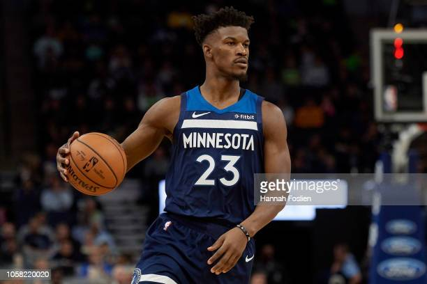Jimmy Butler of the Minnesota Timberwolves dribbles the ball against the Cleveland Cavaliers during the game on October 19 2018 at the Target Center...