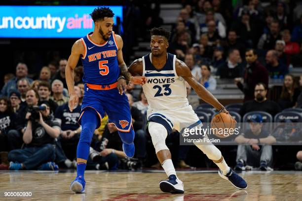 Jimmy Butler of the Minnesota Timberwolves dribbles the ball against Courtney Lee of the New York Knicks during the game on January 12 2018 at the...