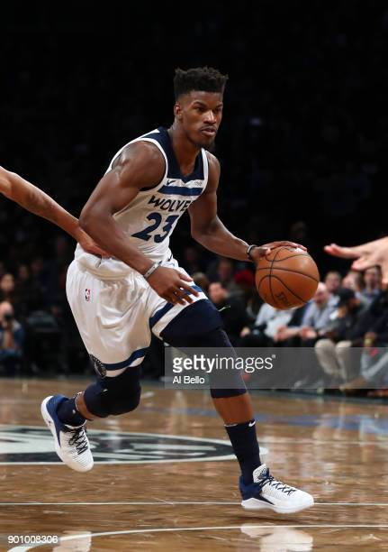 Jimmy Butler of the Minnesota Timberwolves drives against the Brooklyn Nets during their game at Barclays Center on January 3 2018 in New York City...