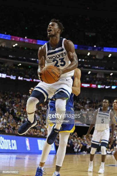 Jimmy Butler of the Minnesota Timberwolves drives to the basket against the Golden State Warriors during the game as part of 2017 NBA Global Games...