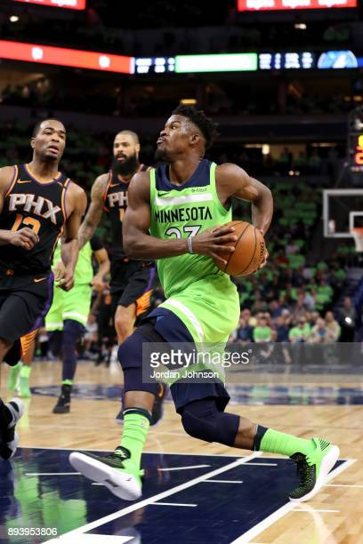 Jimmy Butler of the Minnesota Timberwolves drives to the basket against the Phoenix Suns on December 16 2017 at Target Center in Minneapolis...