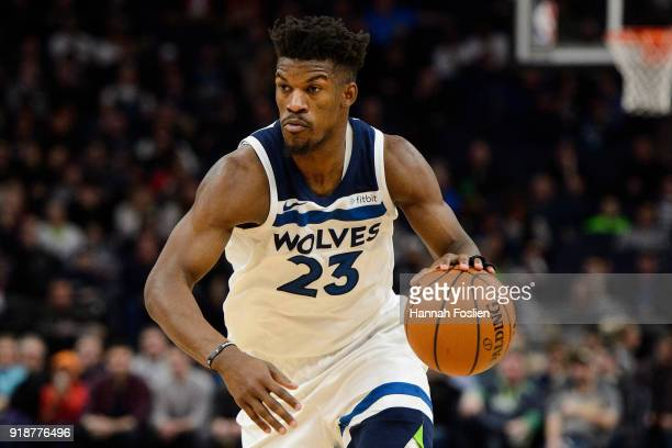 Jimmy Butler of the Minnesota Timberwolves drives to the basket against the Houston Rockets during the game on February 13 2018 at the Target Center...