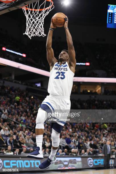 Jimmy Butler of the Minnesota Timberwolves dunks against the New York Knicks on January 12 2018 at Target Center in Minneapolis Minnesota NOTE TO...