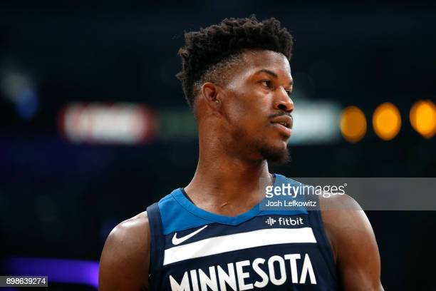 Jimmy Butler of the Minnesota Timberwolves during the first half against the Los Angeles Lakers at the Staples Center on December 25 2017 in Los...