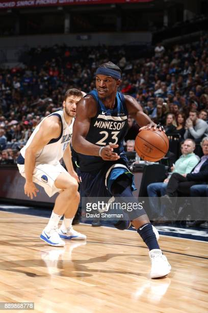 Jimmy Butler of the Minnesota Timberwolves handles the ball against the Dallas Mavericks on December 10 2017 at Target Center in Minneapolis...