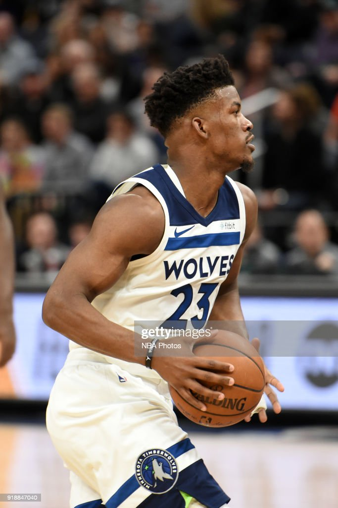 Jimmy Butler #23 of the Minnesota Timberwolves handles the ball against the Los Angeles Lakers on February 15, 2018 at Target Center in Minneapolis, Minnesota.