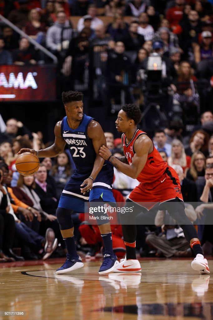 Jimmy Butler #23 of the Minnesota Timberwolves handles the ball against the Toronto Raptors on January 30, 2018 at the Air Canada Centre in Toronto, Ontario, Canada.