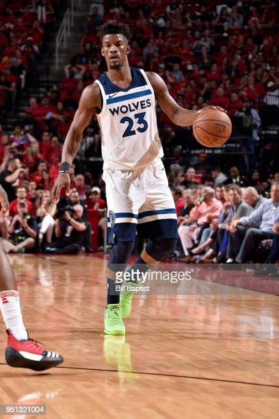 Jimmy Butler of the Minnesota Timberwolves handles the ball against the Houston Rockets in Game Five of the Western Conference Quarterfinals during...