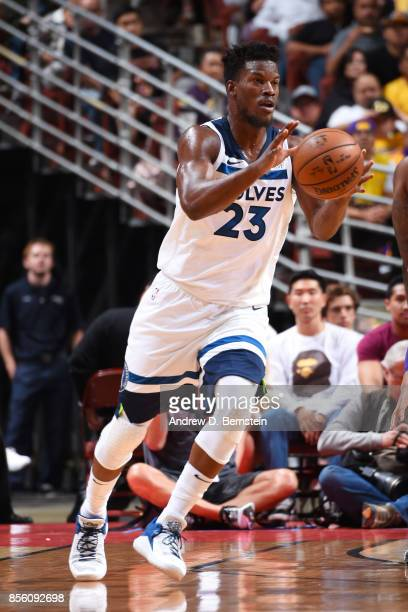 Jimmy Butler of the Minnesota Timberwolves handles the ball during the preseason game on September 30 2017 at Honda Center in Anaheim California NOTE...