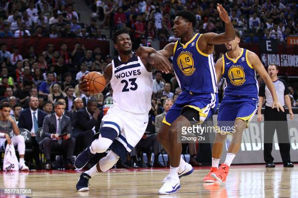 Jimmy Butler of the Minnesota Timberwolves in action against Damian Jones during the game between the Minnesota Timberwolves and the Golden State...
