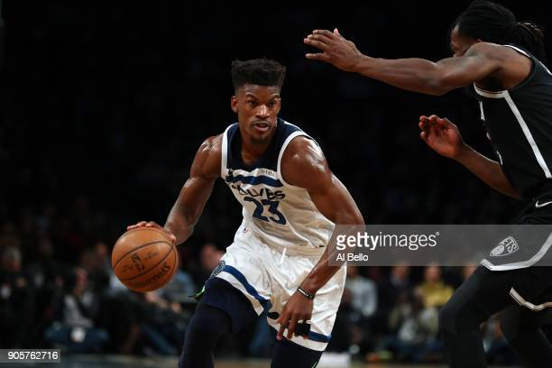 Jimmy Butler of the Minnesota Timberwolves in action against the Brooklyn Nets during their game at Barclays Center on January 3 2018 in New York...