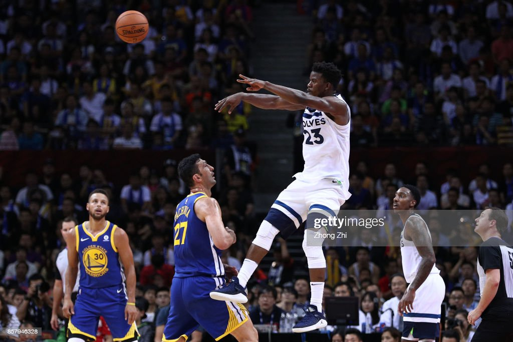 Jimmy Butler #23 of the Minnesota Timberwolves in action agianst Zaza Pachulia #27of the Golden State Warriors during the game between the Minnesota Timberwolves and the Golden State Warriors as part of 2017 NBA Global Games China at Universidade Center on October 5, 2017 in Shenzhen, China.