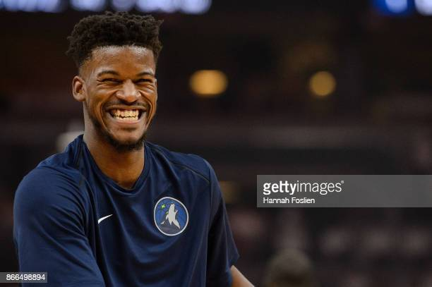 Jimmy Butler of the Minnesota Timberwolves looks on before the game against the Utah Jazz on October 20 2017 at the Target Center in Minneapolis...