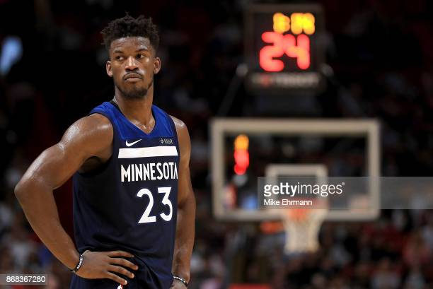 Jimmy Butler of the Minnesota Timberwolves looks on during a game against the Miami Heat at American Airlines Arena on October 30 2017 in Miami...