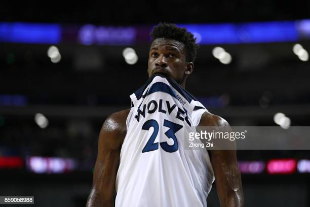 Jimmy Butler of the Minnesota Timberwolves looks on during the game between the Minnesota Timberwolves and the Golden State Warriors as part of 2017...