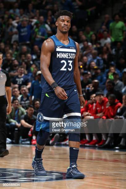Jimmy Butler of the Minnesota Timberwolves looks on during the game against the Houston Rockets in Game Four of Round One of the 2018 NBA Playoffs on...