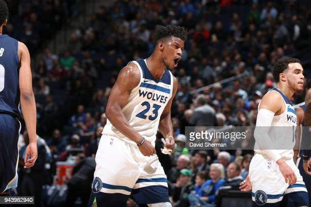 Jimmy Butler of the Minnesota Timberwolves reacts during game against the Memphis Grizzlies on April 9 2018 at Target Center in Minneapolis Minnesota...