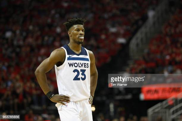 Jimmy Butler of the Minnesota Timberwolves reacts in the second half during Game Five of the first round of the 2018 NBA Playoffs against the Houston...