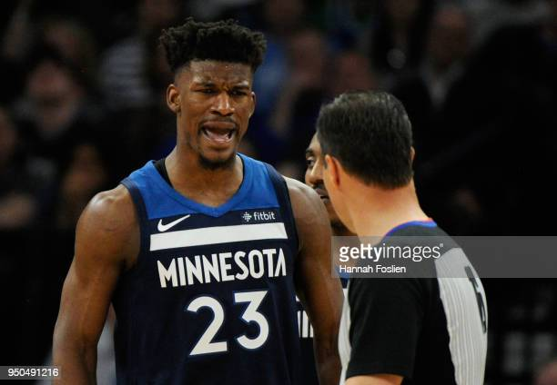 Jimmy Butler of the Minnesota Timberwolves reacts to being called for a foul against the Houston Rockets during the third quarter in Game Four of...