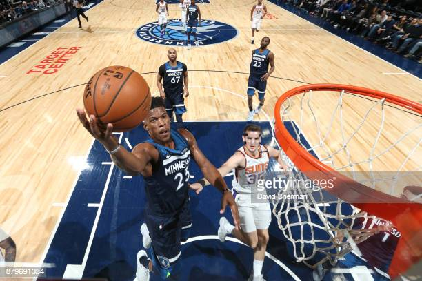Jimmy Butler of the Minnesota Timberwolves shoots the ball against the Phoenix Suns on November 26 2017 at Target Center in Minneapolis Minnesota...