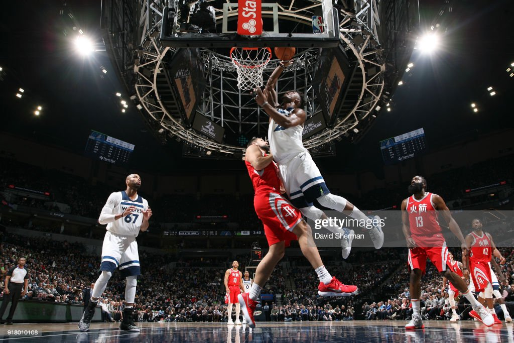 Jimmy Butler #23 of the Minnesota Timberwolves shoots the ball against the Houston Rockets on February 13, 2018 at Target Center in Minneapolis, Minnesota.