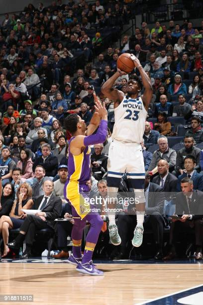 Jimmy Butler of the Minnesota Timberwolves shoots the ball during the game against the Los Angeles Lakers on February 15 2018 at Target Center in...