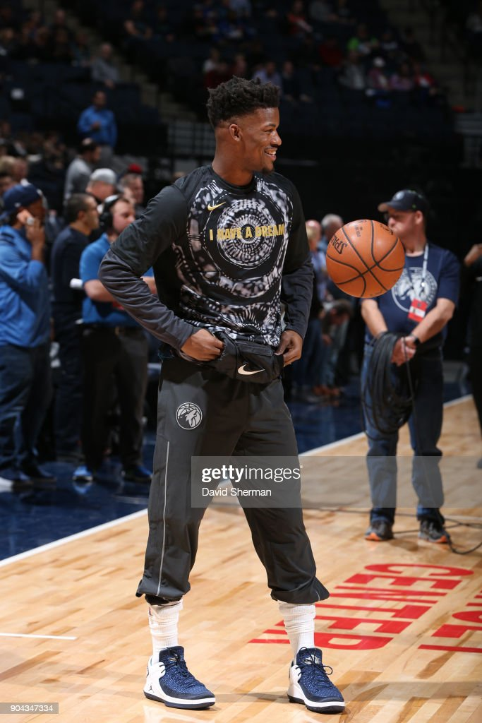 Jimmy Butler #23 of the Minnesota Timberwolves warms up before the game against the New York Knicks on January 12, 2018 at Target Center in Minneapolis, Minnesota.
