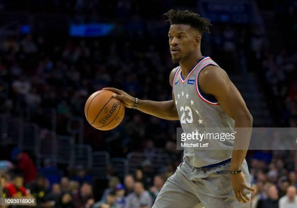 Jimmy Butler of the Philadelphia 76ers dribbles the ball against the Atlanta Hawks at the Wells Fargo Center on January 11 2019 in Philadelphia...