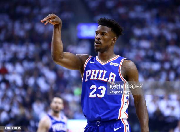 Jimmy Butler of the Philadelphia 76ers gestures during Game Five of the second round of the 2019 NBA Playoffs against the Toronto Raptors at...