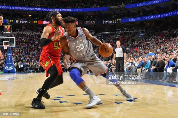 Jimmy Butler of the Philadelphia 76ers handles the ball against the Atlanta Hawks on January 11 2019 at the Wells Fargo Center in Philadelphia...