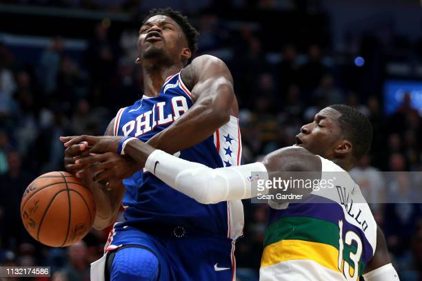 Jimmy Butler of the Philadelphia 76ers has the ball stolen by Cheick Diallo of the New Orleans Pelicans during the second half at the Smoothie King...