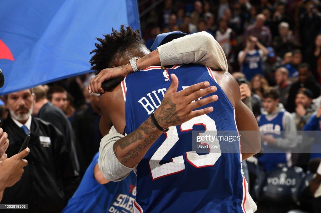 new concept a89e9 58dba Jimmy Butler of the Philadelphia 76ers hugs Allen Iverson ...