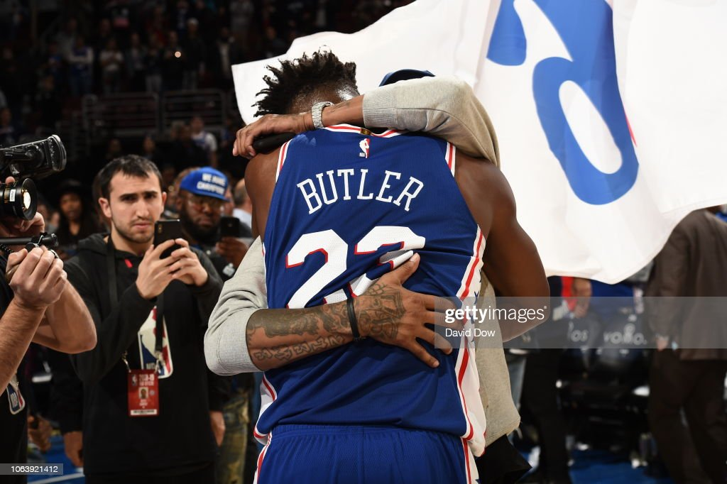 new concept 94e09 e20c2 Jimmy Butler of the Philadelphia 76ers hugs Allen Iverson ...