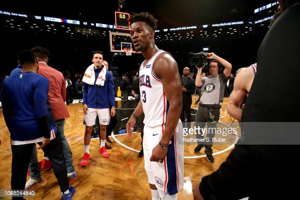 Jimmy Butler of the Philadelphia 76ers is seen after the game against the Brooklyn Nets on November 25 2018 at Barclays Center in Brooklyn New York...
