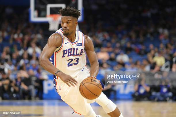 Jimmy Butler of the Philadelphia 76ers is seen during a NBA game against the Orlando Magic at Amway Center on November 14 2018 in Orlando Florida...