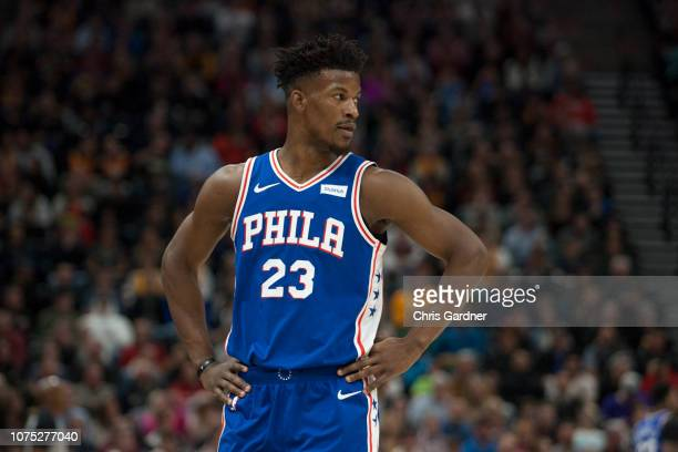 Jimmy Butler of the Philadelphia 76ers looks at his bench during their game against the Utah Jazz at the Vivint Smart Home Arena on December 27 2018...